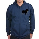 Christmas or Holiday Bulldog Silhouette Zip Hoodie