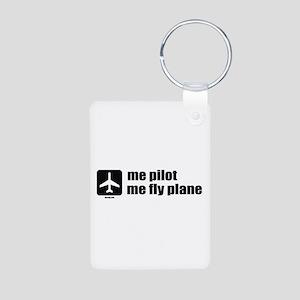 Me Pilot, Me Fly Plane Aluminum Photo Keychain