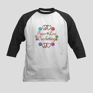 Peace Love Crocheting Kids Baseball Jersey
