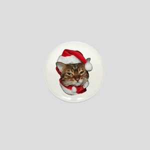 Santa Bengal Cat Mini Button