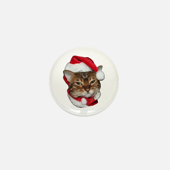 Santa Bengal Cat Mini Button