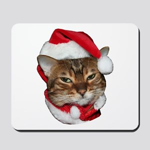Santa Bengal Cat Mousepad