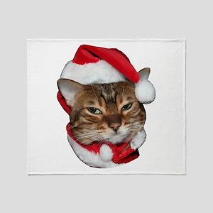 Santa Bengal Cat Throw Blanket
