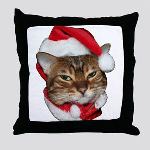 Santa Bengal Cat Throw Pillow