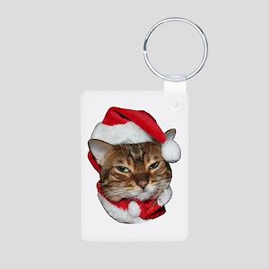 Santa Bengal Cat Aluminum Photo Keychain