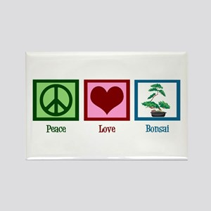 Peace Love Bonsai Rectangle Magnet