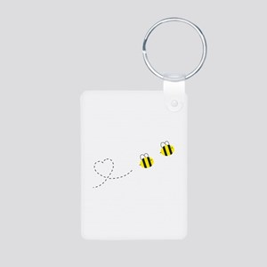 Bee in Love Aluminum Photo Keychain