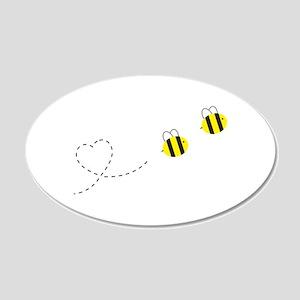 Bee in Love 22x14 Oval Wall Peel