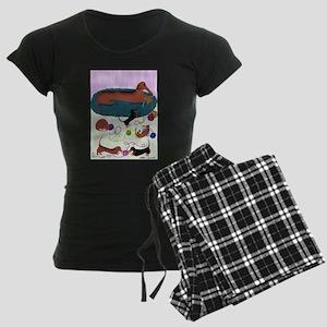 Knitting Dachshund Women's Dark Pajamas
