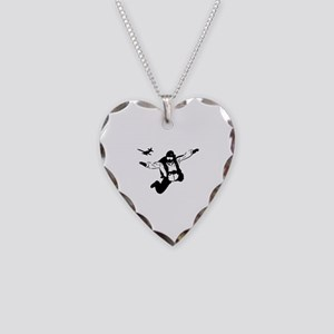 Skydiving Necklace Heart Charm