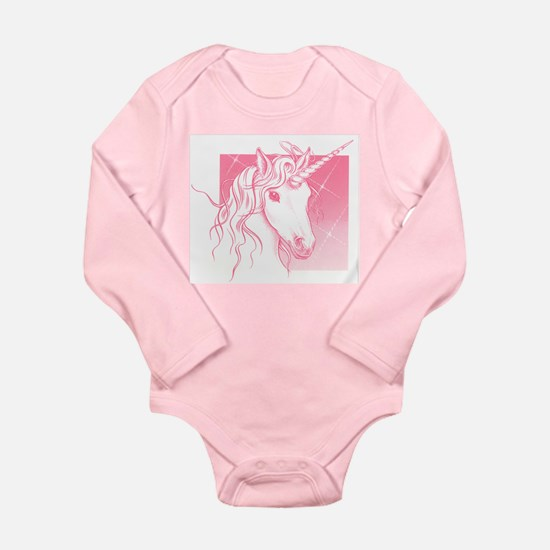 1 Pink Unicorn Long Sleeve Infant Bodysuit
