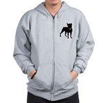 Christmas or Holiday Boston Terrier Silhouette Zip