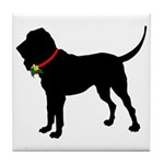 Christmas or Holiday Bloodhound Silhouette Tile Co