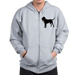 Christmas or Holiday Bloodhound Silhouette Zip Hoo
