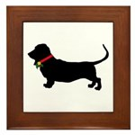 Christmas or Holiday Basset Hound Silhouette Frame