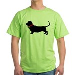 Christmas or Holiday Basset Hound Silhouette Green
