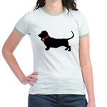 Christmas or Holiday Basset Hound Silhouette Jr. R