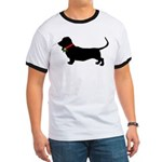 Christmas or Holiday Basset Hound Silhouette Ringe