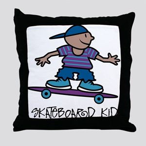 Skateboard Kid Throw Pillow