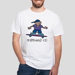 Skateboard Kid White T-Shirt