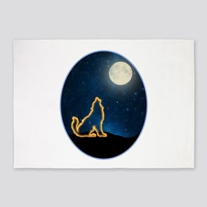 Neon Wolf Howls at the Moon 5'x7'Area Rug