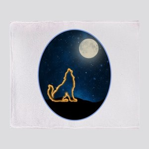 Neon Wolf Howls at the Moon Throw Blanket