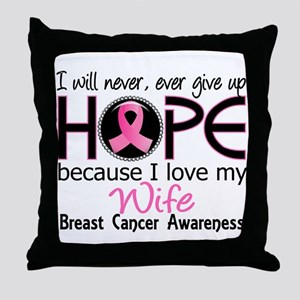Hope For My 2 Breast Cancer Throw Pillow
