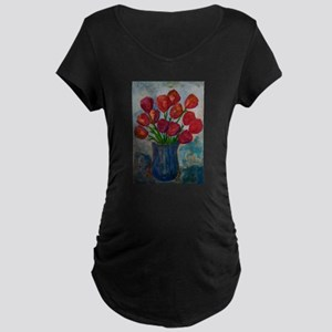 Beautiful Flower Painting Maternity Dark T-Shirt
