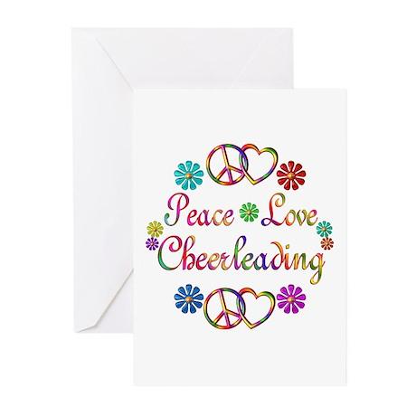 Peace Love Cheerleading Greeting Cards (Pk of 10)