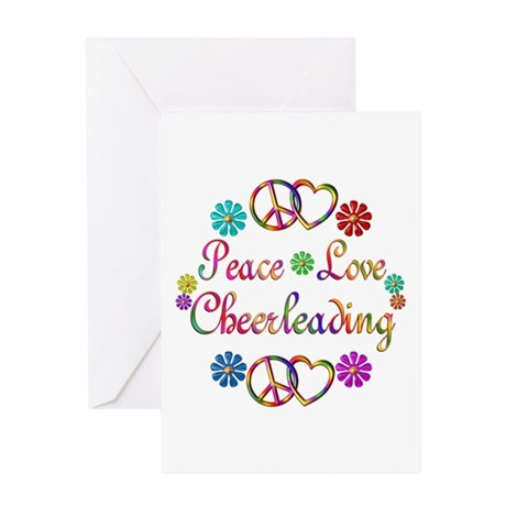 Peace Love Cheerleading Greeting Card