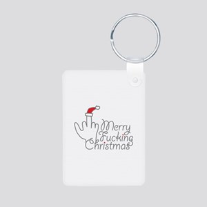 Merry Fucking Christmas Aluminum Photo Keychain