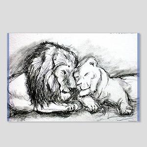 Lions,wildlife, art, Postcards (Package of 8)