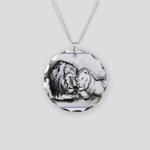 Lions,wildlife, art, Necklace Circle Charm