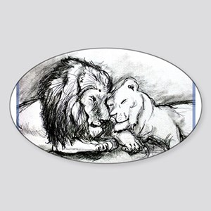 Lions,wildlife, art, Sticker (Oval)