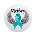 Victory Ovarian Cancer Ornament (Round)