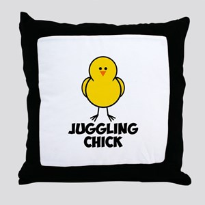 Juggling Chick Throw Pillow