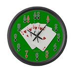 Royal Flush Poker Large Wall Clock