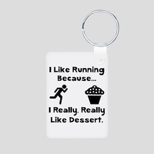 Running Dessert Aluminum Photo Keychain