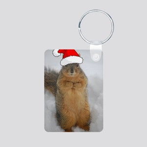 Christmas Squirrel Aluminum Photo Keychain
