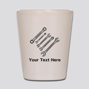 Wrenches. Black Text. Shot Glass