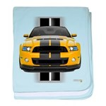 New Mustang GT Yellow baby blanket