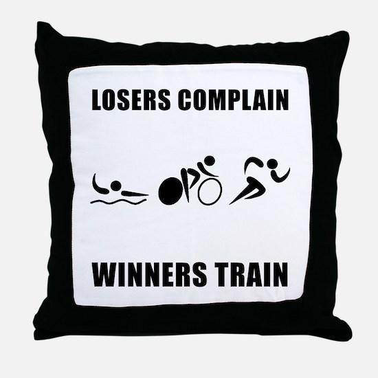 Triathlon Winners Train Throw Pillow