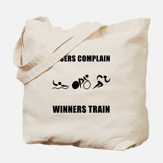 Triathlon Winners Train Tote Bag