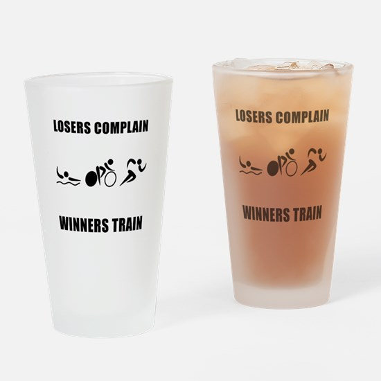 Triathlon Winners Train Drinking Glass
