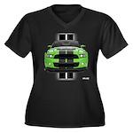 New Mustang Green Women's Plus Size V-Neck Dark T-