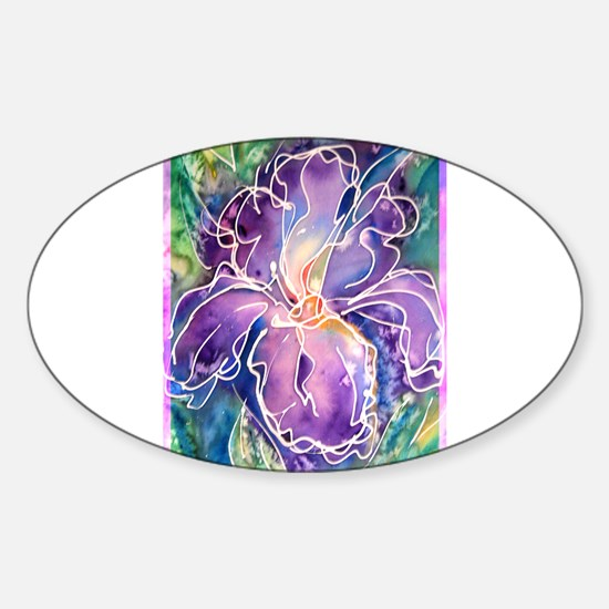 Iris, floral, art, Sticker (Oval)