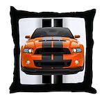 New Mustang GT Orange Throw Pillow