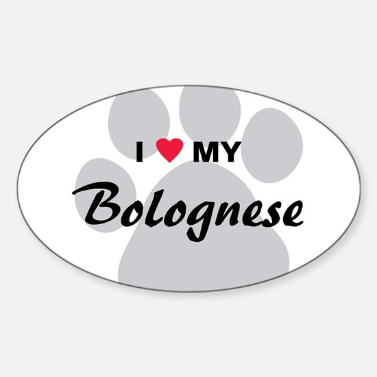 I Love My Bolognese Sticker (Oval)
