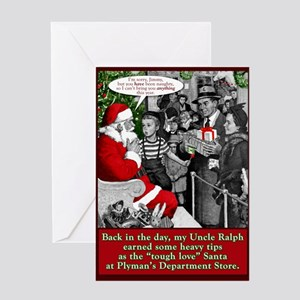 """Tough Love"" Santa Greeting Card"