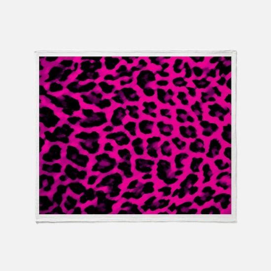 Hot Pink Leopard Print Throw Blanket